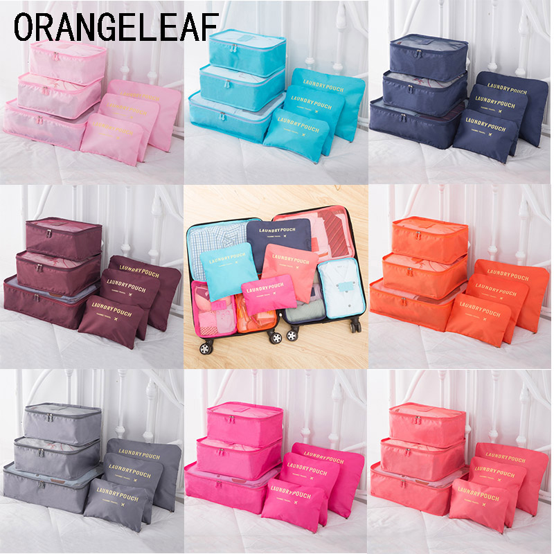 NEW 6PCS/Set PackingTravel Organizers Travel Accessories Cloth Travel Mesh Bag Luggage Organizer Packing Cube Organizer Pouch