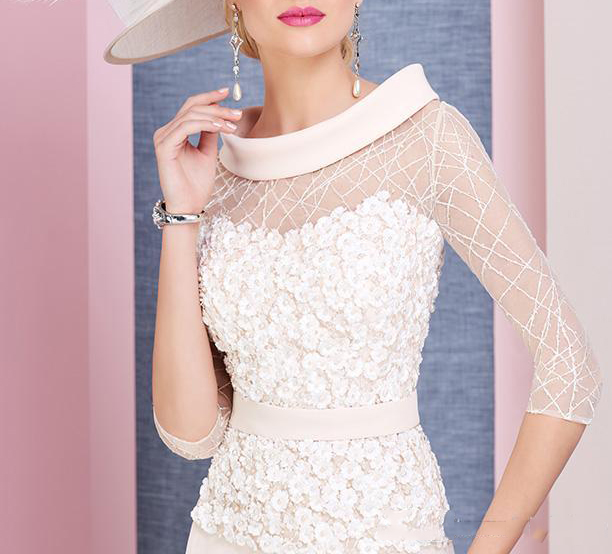 2019 Pale Pink A Line Scoop Neck 3 4 Sleeves Tea Length Mother Of The Bride Dress Plus Size Vestido Mae Da Noiva in Mother of the Bride Dresses from Weddings Events