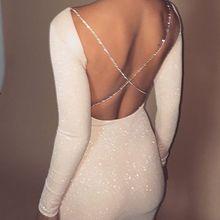 Осеннее Сексуальное Женское облегающее платье с открытой спиной, вечерние коктейльные облегающие Короткие мини-платья, модное белое мини-платье с длинным рукавом