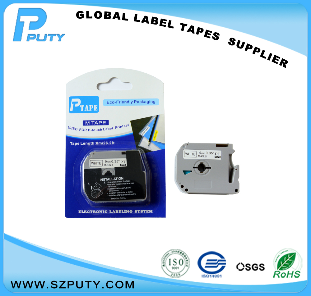 compatible P Touch thermal label printers 9mm black on white M series M-K221 mk 221