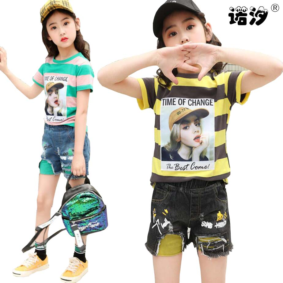 Ladies clothes units 3-11 child ladies T-shirt+pants ladies shirt teenage youngsters summer time brief sleeve Tees youngsters knee-length pants Clothes Units, Low-cost Clothes Units, Ladies clothes units 3 11...