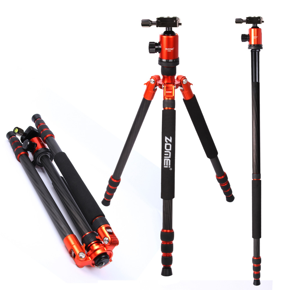 DHL Free shipping ZOMEi carbon fiber Portable Professional tripod & monopod Z888C With Ball Head for DSLR Camera Orange Color купить