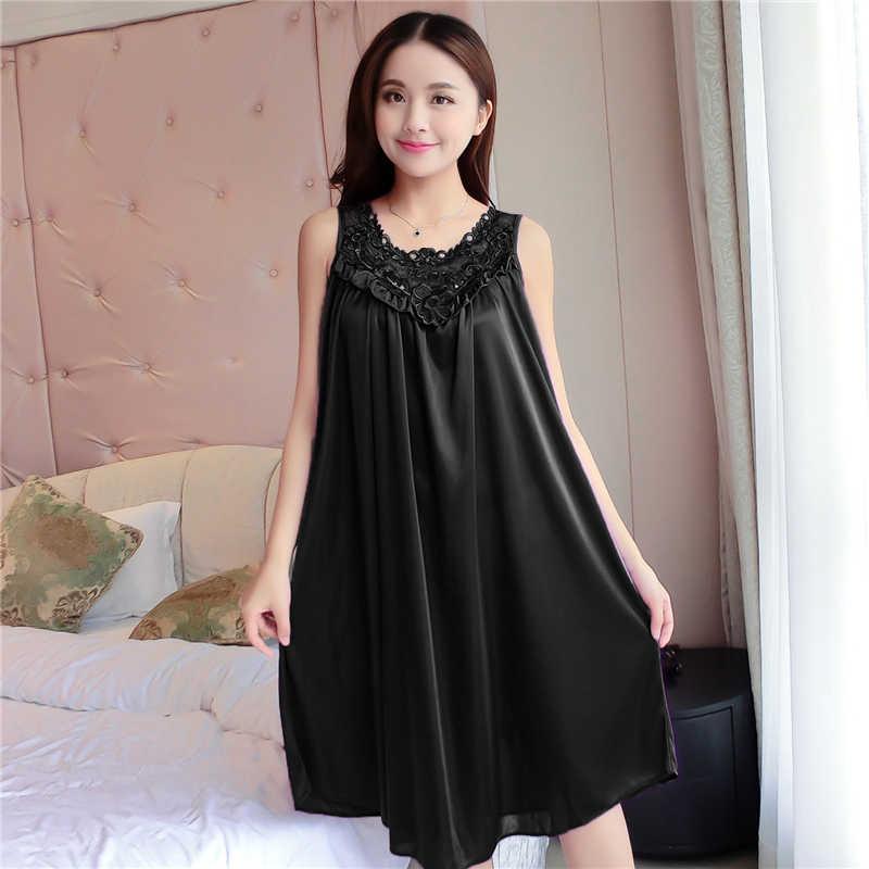 2b4b62d74acd ... Summer Sexy Satin Night Dress Women Big Size 4xl Silk Nightgown Women  Lace Lingerie Nightdress Sleeveless