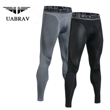 UABRAV Men Running Pants Sport Compression Quick-dry Gym Jogging Basketball Soccer Tight Sportwear Trousers