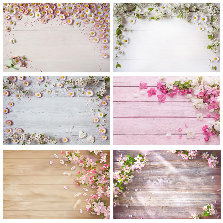 Us 325 44 Offwooden Board Planks Texture Portrait Flowers Photo Background Customized Photography Backdrops For Photo Studio In Background From