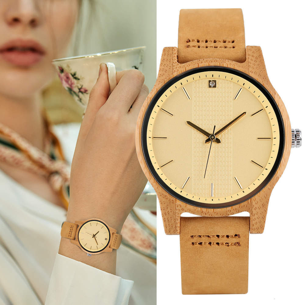 Women's Watch Lightweight Quartz Wooden Watch Leather Strap Pin Buckle Wristwatch for Lady(China)