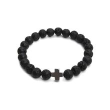 New Natural Black Lava Stone Beads Bracelet Yoga Bracelet