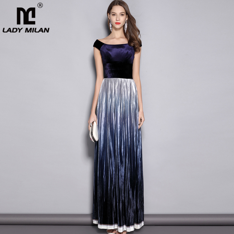 2019 Women s Slash Neckline Short Sleeves Velour Pleated Party Prom Piping Elegant Long Runway Dresses