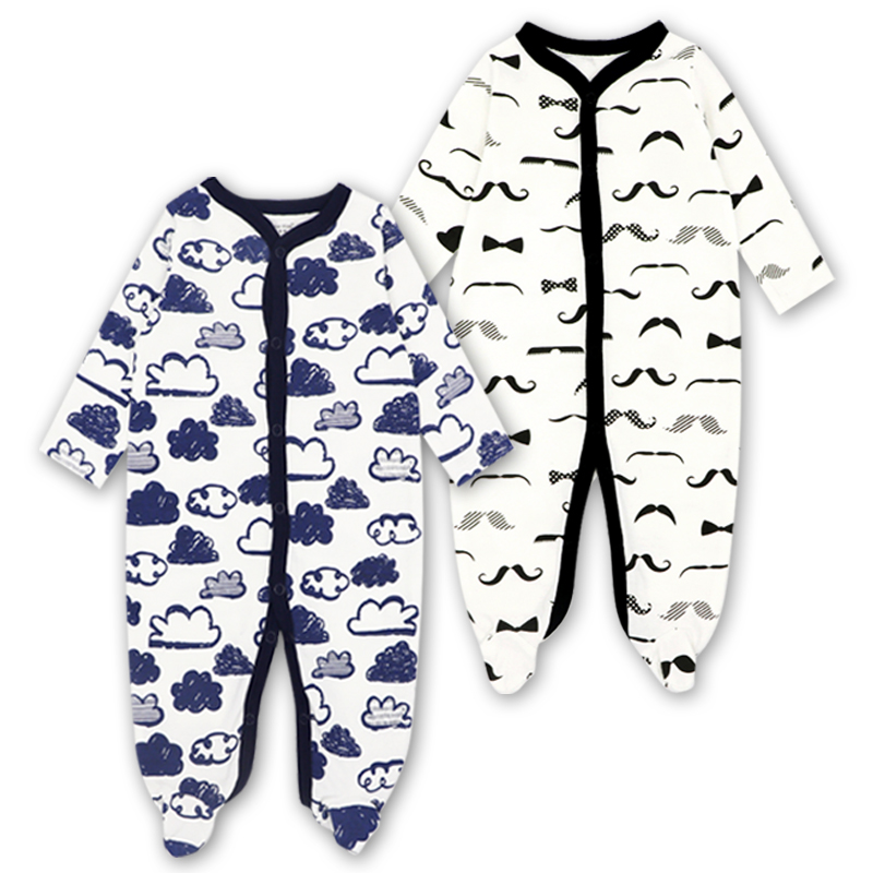 Newborn Baby Girl Clothes Babies Footed Pajamas Romper Jumpsuit Lucky Child Infant Boys 0-12 Months Clothing