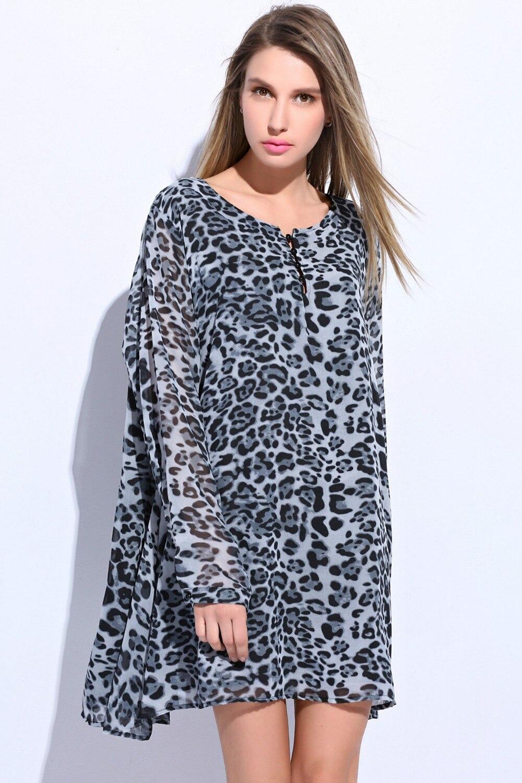38574807000 Super 2015 New vestido leopardo chiffon dress casual plus size robe femme  fat pregnant women clothing leopard print dresses-in Dresses from Women s  Clothing ...