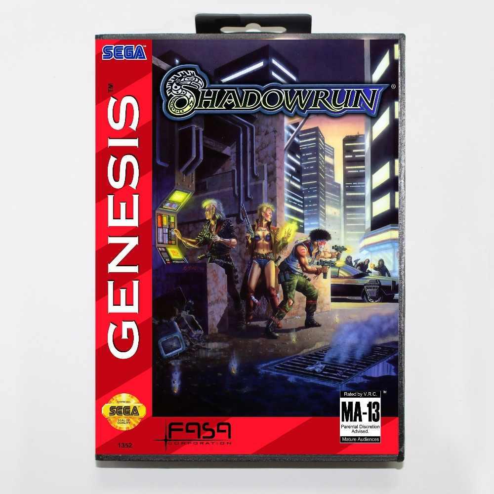 Shadowrun Game Cartridge 16 bit MD Game Card With Retail Box For Sega Mega Drive For Genesis