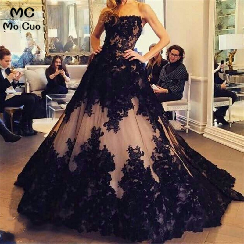 Amazing 2018 Black Promotion Ball vestido de festa Nude PInk and Black Lace Sweeheart Long   prom     dress   women