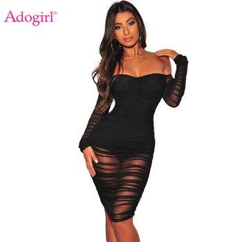 0176a75e007c Vestido Sexy de malla transparente con hombros descubiertos para mujer con  cuello Barco de manga larga Bodycon Midi noche Club Vestidos de fiesta para  ...