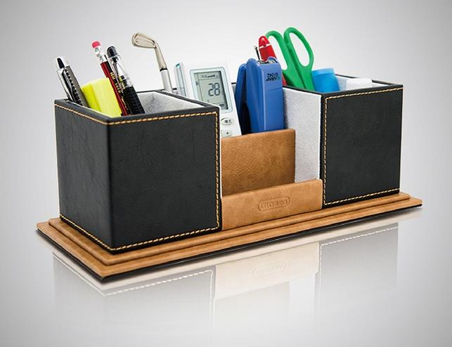 ФОТО PU Leather Pen Holder Creative Handmade Fashion Remote Control Multifunctional Office Storage Storage Box High grade stationery