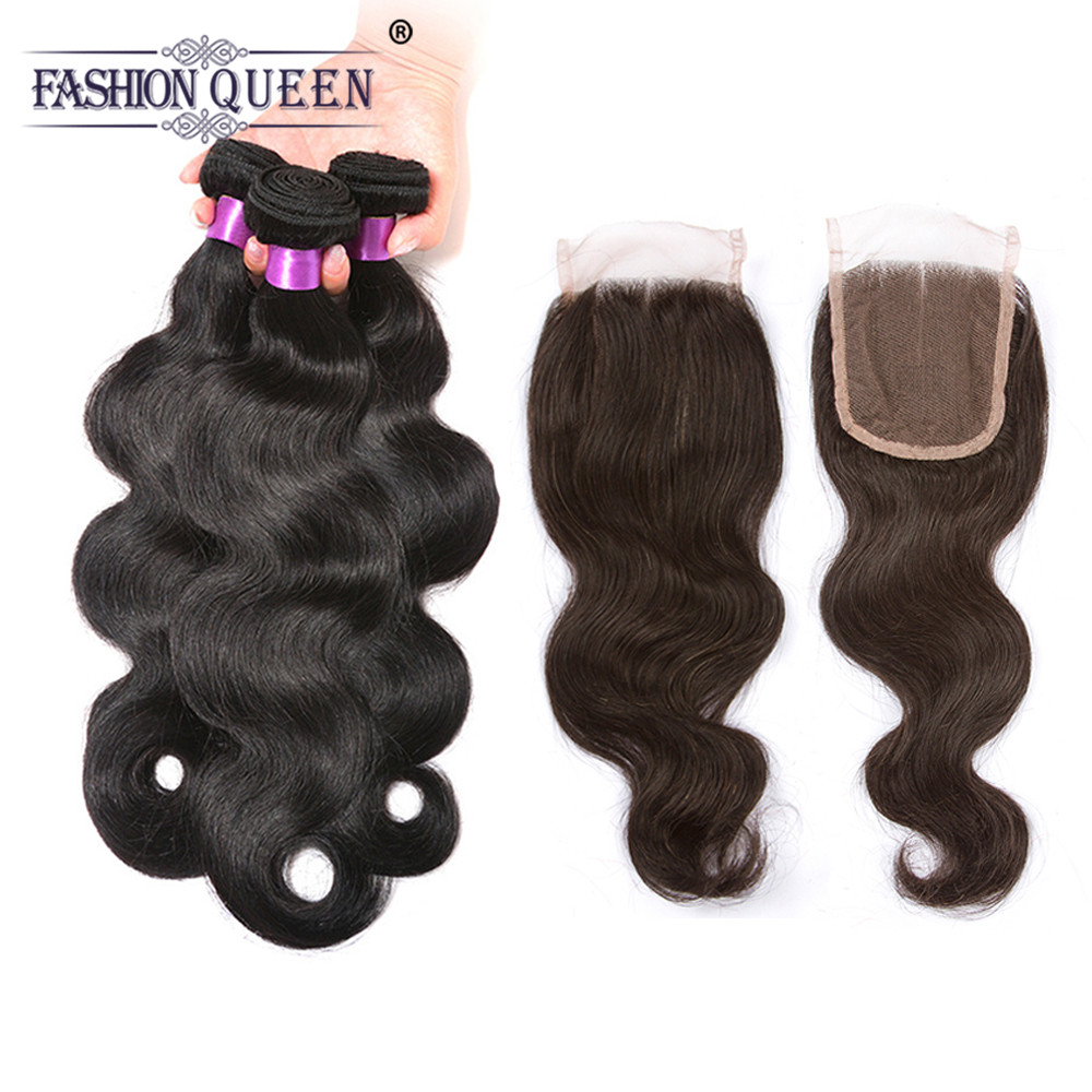 Fashion Queen Hair Body Wave 3 Bundles With Closure Human Hair Bundles With Lace Closure Three Part Remy Hair Free Shipping