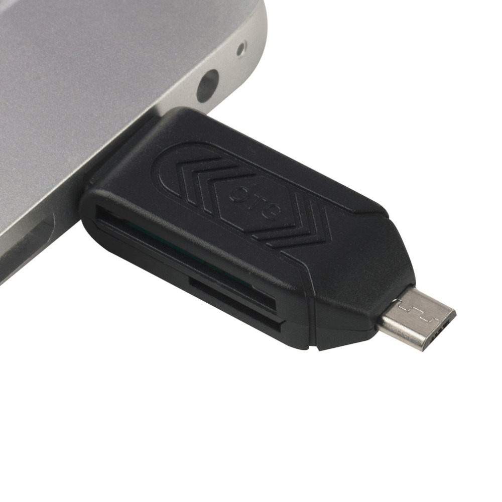 1pc Universal Card Reader Mobile phone PC card reader Micro USB OTG Card Reader OTG TF / For flash memory Newest Wholesale black