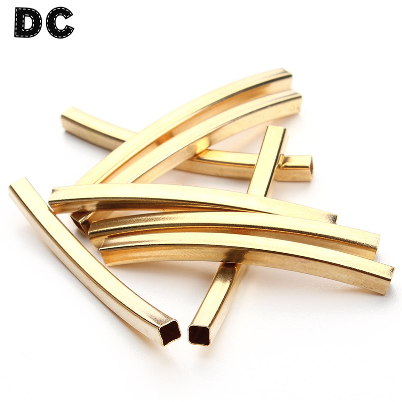 10pcs Long Copper Curved Tube Spacer Beads Necklace Bracelet Jewelry Connectors