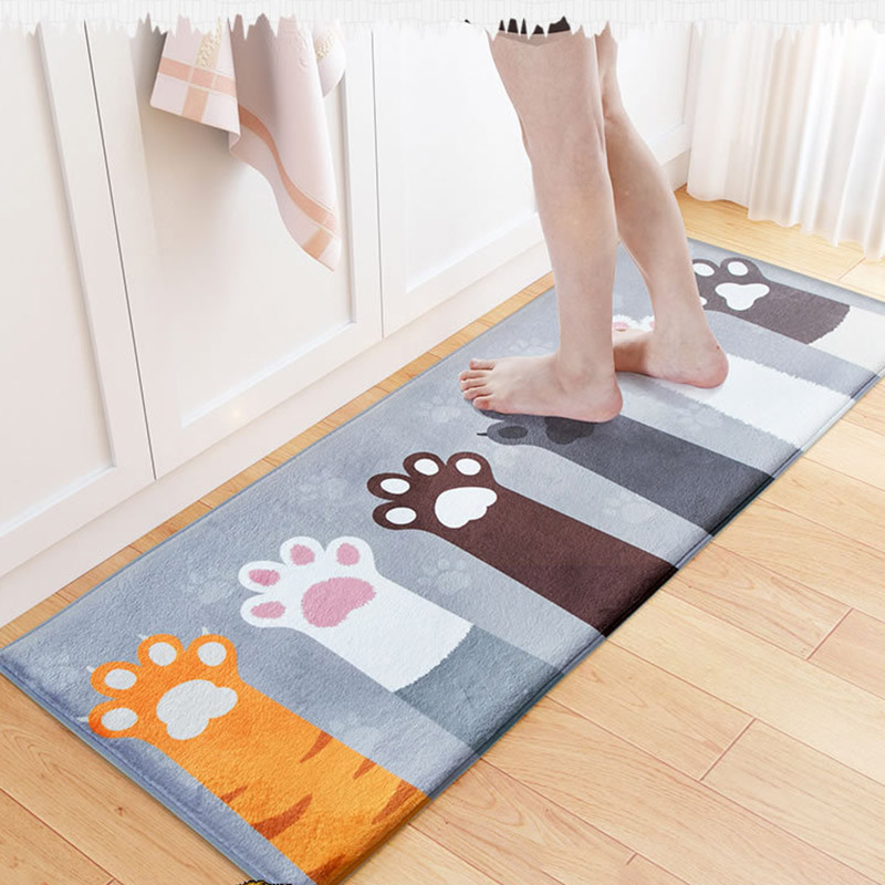 Welcome floor mats animal cat printed bathroom kitchen for Living room mats