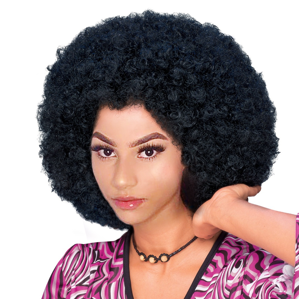 1970s Afro Wig Big Curly Hair Synthetic Retro Cosplay Wigs For Women And Men Black Hair Fluffy Wigs For Women