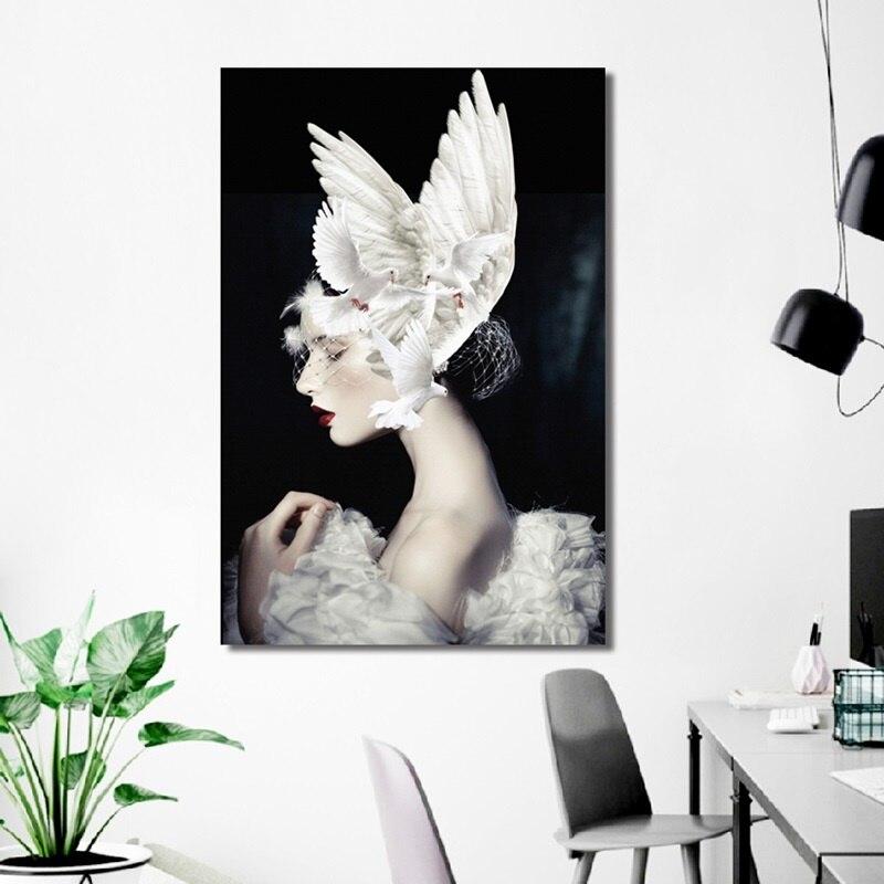 Nordic Criativo Cartaz Menina Da Beleza com Pomba Branca Pintura Moderna Casa Decoração Arte Da Parede Da Lona Fotos Para Sala de estar