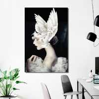Nordic Creative Poster Beauty Girl with White Dove Painting Modern Home Decoration Canvas Art Wall Pictures For Living Room