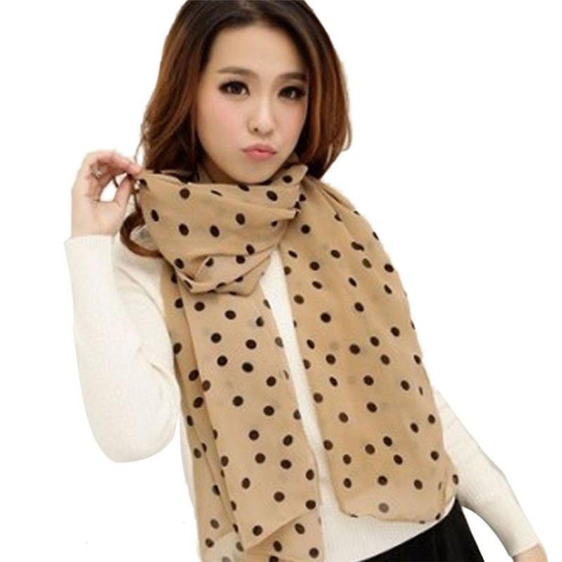 New Stylish Girl Long Soft Silk Chiffon Scarf Wrap Polka Dot Shawl women's scarves handkerchief hijab scarf 40FE25