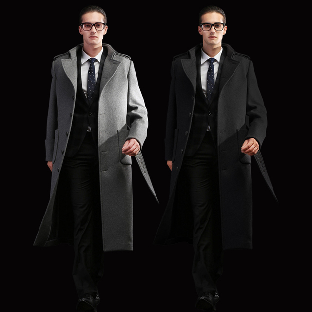 Autumn And Winter Men's customizable Plus Size Woolen Overcoat Male Over-the-knee Long Design Thickening Trench