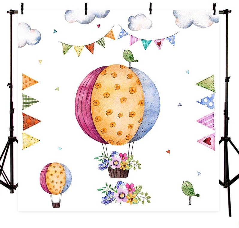 Cartoon Balloon flag clouds flower Birthday Baby Shower background Vinyl cloth Computer print newborn baby backdrop