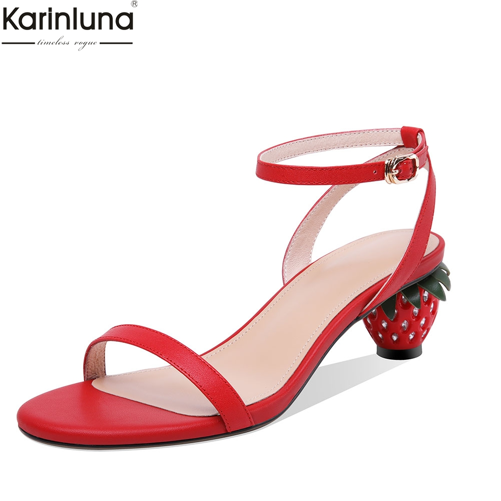 Women Shoes Genuine Leather INS brand design Fashion Sweet Strawberry Heels Summer Party Sandals Shoes WomanWomen Shoes Genuine Leather INS brand design Fashion Sweet Strawberry Heels Summer Party Sandals Shoes Woman
