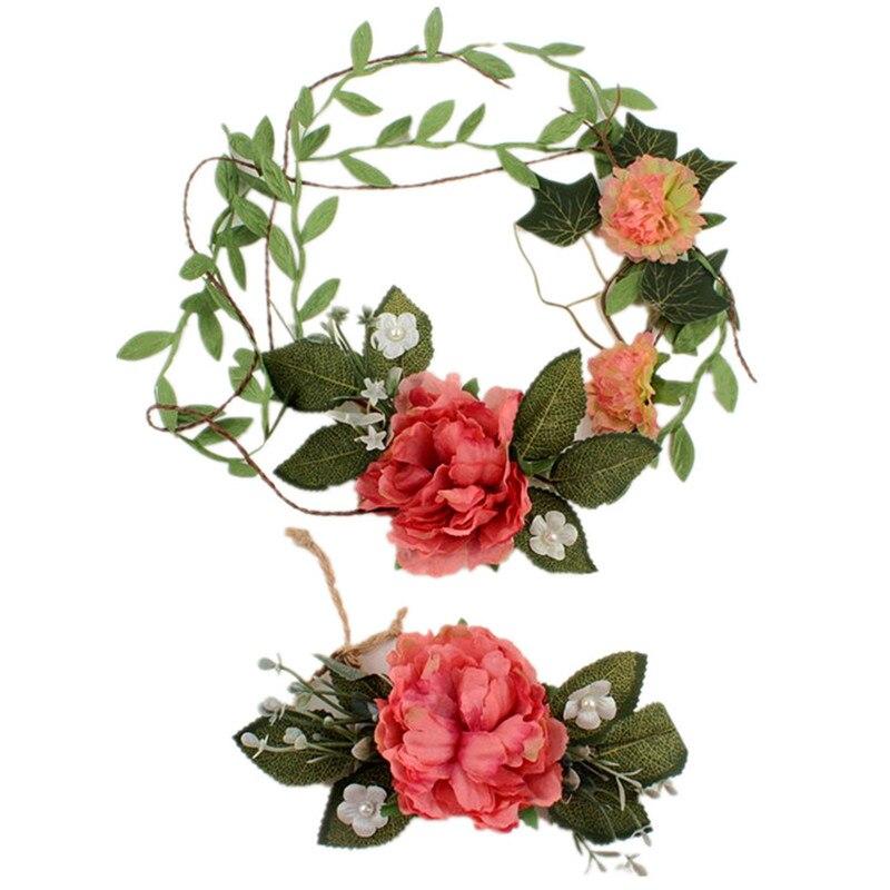 Summer Wedding Flower Headband Halo Bridal Floral Crown Hair Band Wreath Head Headpiece Bridesmaid Party Flower Crown & Wrist