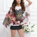 New 2016 Fashion Women Summer Sexy Batwing Sleeve Loose Floral Print Shirts Casual Tops Y8