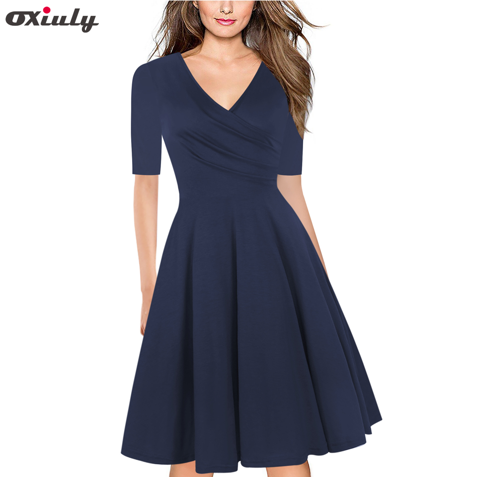 Oxiuly Pure Blue Purple Floral Print Ruffle V Neck Dress Half Sleeve Knee Length Office Ladies Casual A Line Dresses Vestidos