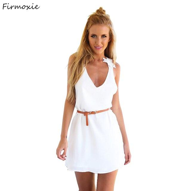 Женщины Летняя Мода-Line V-образным Вырезом Платья, Пляж Стиль Спинки Мини Dress. Леди Праздник Носить Сексуальный Белый Одежда С кружева