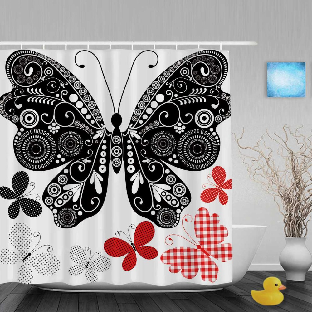 Black and white hello kitty shower curtain - Black And Red Shower Curtains Black White Butterflies Bathroom Shower Curtains Red White Lattice Designed