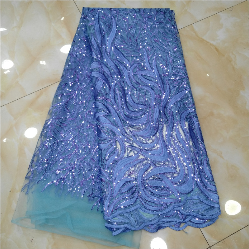 French Net Lace Fabric New Design African Guipure Lace Fabric With Embroidery mesh tulle Sky Blue