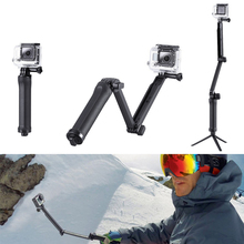 Gopro equipment Collapsible Three-way grip arm selfie stick tripod monopod mount for go professional Hero four Three Three+ xiaomi yi sports activities digital camera
