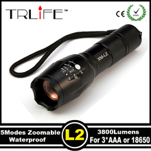 USA EU Top Selling Style E17 CREE XML L2 5000LM Aluminum Zoomable cree led flashlight Torch lamplight for AAA or 1x18650 battery