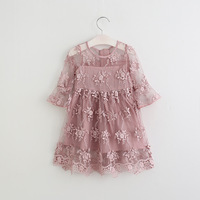 Summer 2017 Girls Dress Floral Lace Kids Dresses For Girls Solid Infant Children Costume Toddler Fashion
