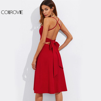 COLROVIE Crisscross Belted Back Cut Out Fitted Flared Dress 2017 Red Spaghetti Strap Sleeveless Sexy A