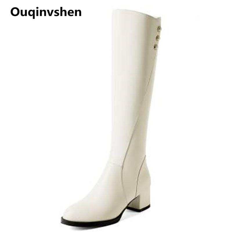 Ouqinvshen Off White Rivet Over The Knee Boots Plus Size 33-43 Fashion Concise Genuine Leather Pumps Round Toe Winter Boots 5CM plus size floral off the shouler asymmetric top