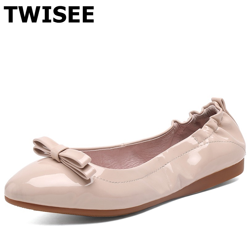 ФОТО black beige red pink Microfiber leather sapatos femininos flat shoes woman Pointed Toe spring flats Solid woman casual shoes
