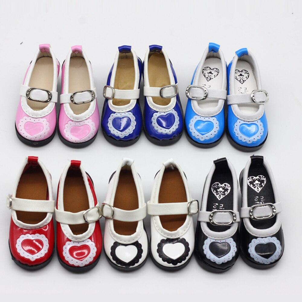 Pink Blue Black 1 UNIDS PU Zapatos de cuero del corazón para BJD SD - Muñecas y accesorios