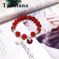 Red Agates Natural Stone Beads Bracelets Bangles Friendship Bracelets Women Accessories Jewellery Silver 925 Love Gift