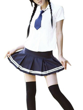 Free shipping White And Blue Tie Cosplay School Uniform