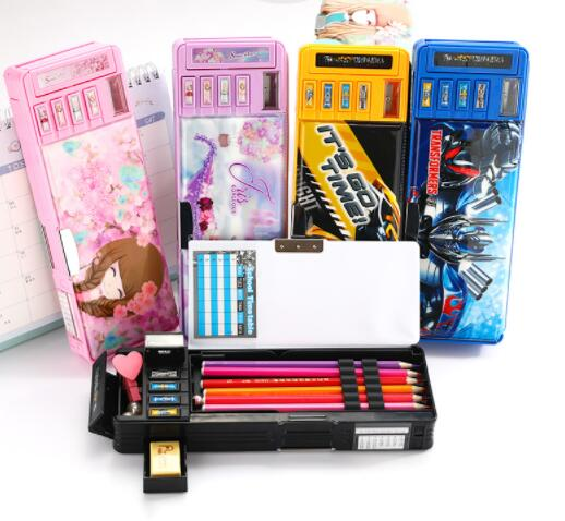 Transformers Multi-function Pencil Case Cartoon Creative Large-capacity Pencil Case Double-sided Stationery Box