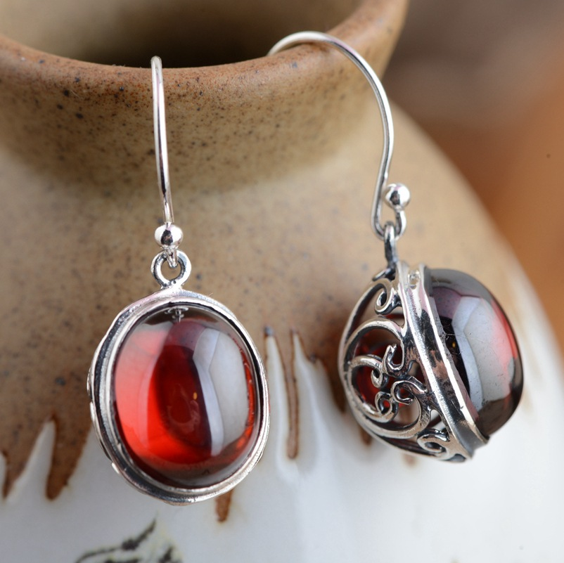 New arrival Sterling silver jewelry handmade red corundum thai silver Women earrings,silver earrings for birthd gift