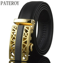 PATEROY Belt Designer Belts Men High Quality Mens Belts Luxury Ceinture Homme Luxe Marque Ceinture Gold Genuine Leather Yellow