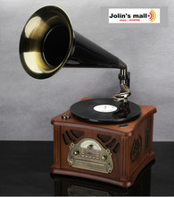High-grade vintage small horn retro gramophone vinyl record LP player vintage household decoration radio/CD/USB 220V