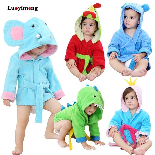 Newborn Sleepwear Robes Cartoon Hooded Pyjama Baby Sleep Gown Cotton  Pijamas Infantil Roupao Bath Robe Kids Baby Girls Clothes 83fd6f8ba