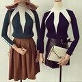 Mujeres Color Block Patchwork Jersey de Cuello Alto Suéter Stylenanda Vintage Otoño Invierno Moda Cuerpo Delgado de Punto Prendas de Punto Tops